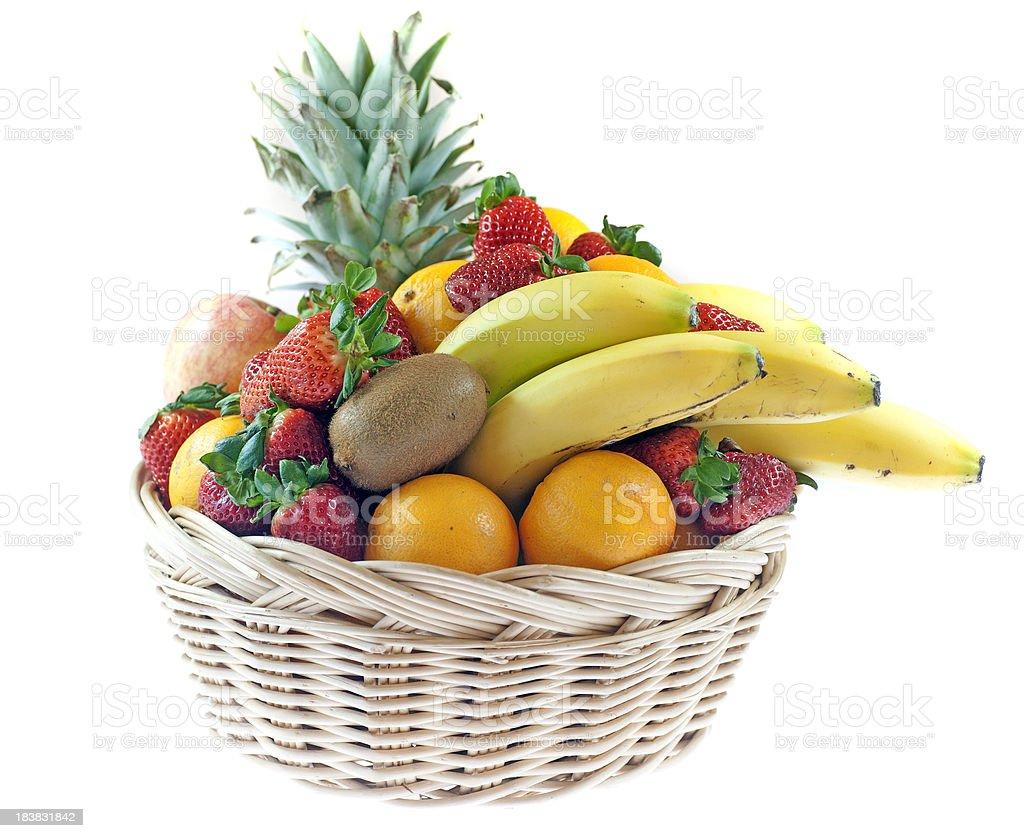 fresh fruits in basket isolated on white royalty-free stock photo