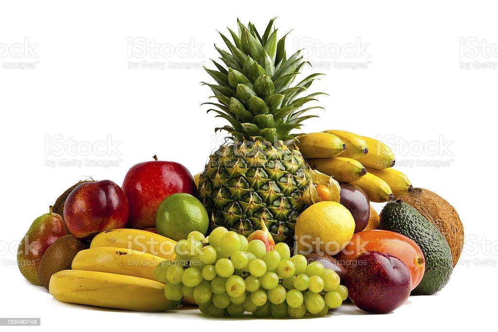 Fresh fruits isolated on a white stock photo