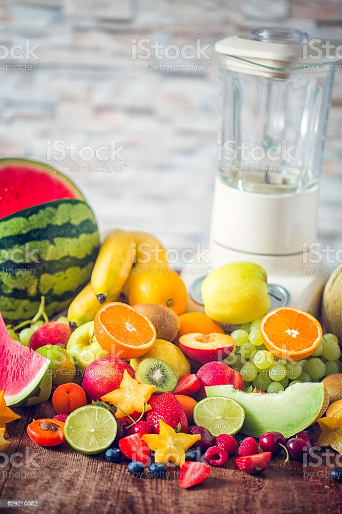 Fresh Fruits on Kitchen Table for Preparing Smoothies