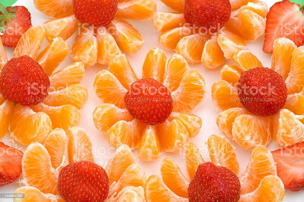 fresh fruits, strawberries and tangerines royalty-free stock photo