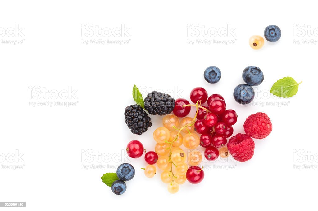 Fresh fruits with leaves. stock photo