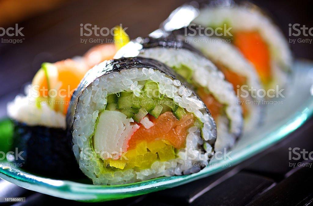 Fresh futomaki sushi stock photo
