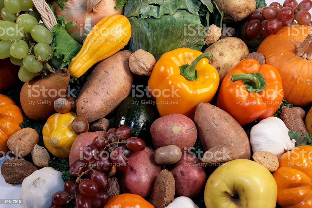Fresh Garden Fruits & Vegetables Close Up Background royalty-free stock photo