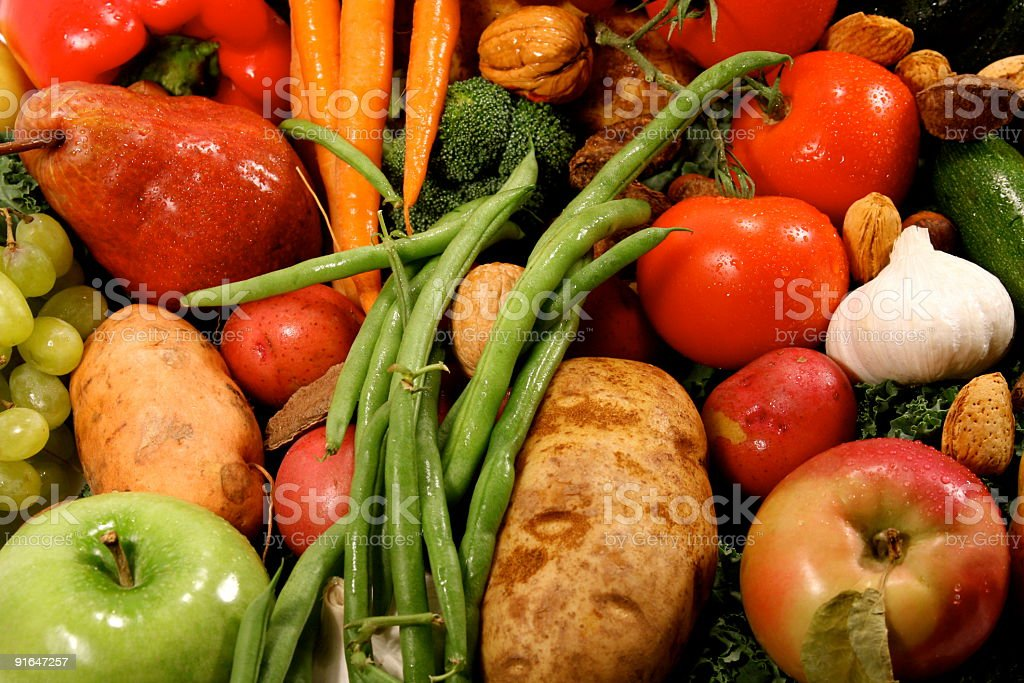 Fresh Garden Fruits & Vegetables Nuts Close Up Background stock photo