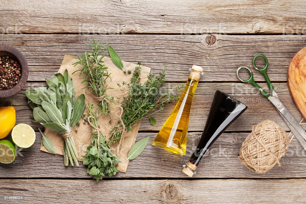 Fresh garden herbs and condiments stock photo
