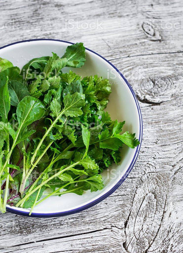 fresh garden herbs  on a white enamel plate stock photo