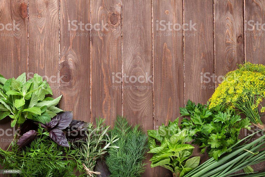 Fresh garden herbs stock photo