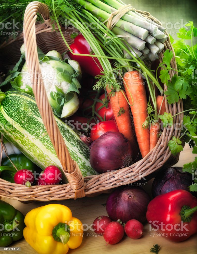 Fresh Garden Produce in a basket stock photo