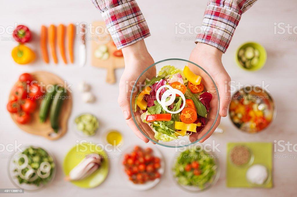 Fresh garden salad bowl stock photo