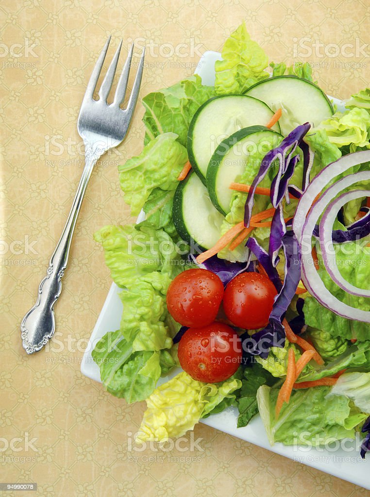 Fresh Garden Salad on Square Plate with Fork stock photo