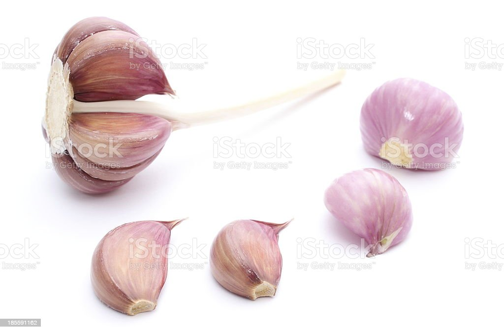 Fresh garlic and pink onions on white background royalty-free stock photo