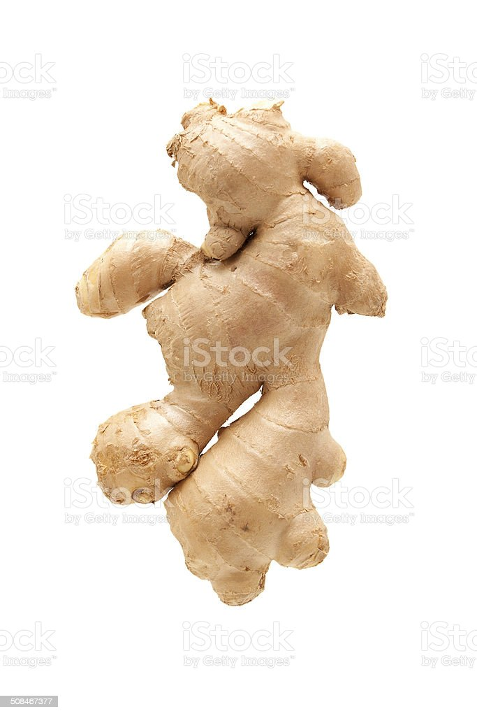 Fresh ginger root isolated on white background stock photo
