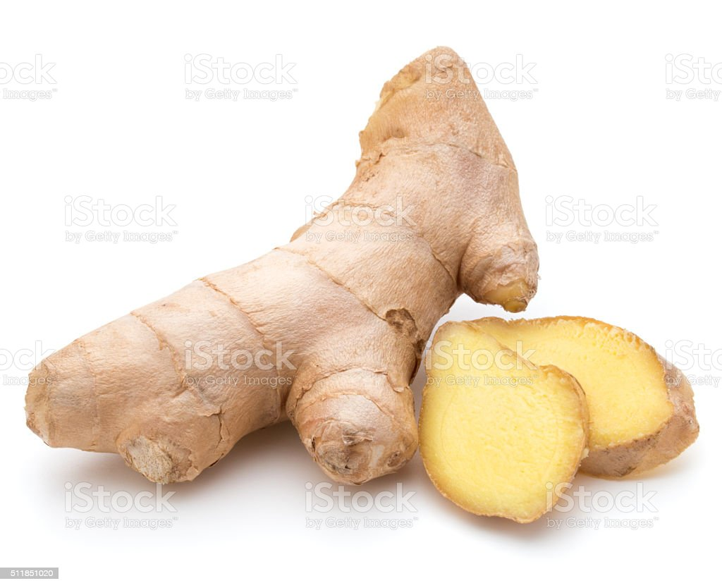 Fresh ginger root or rhizome isolated on white background cutout stock photo