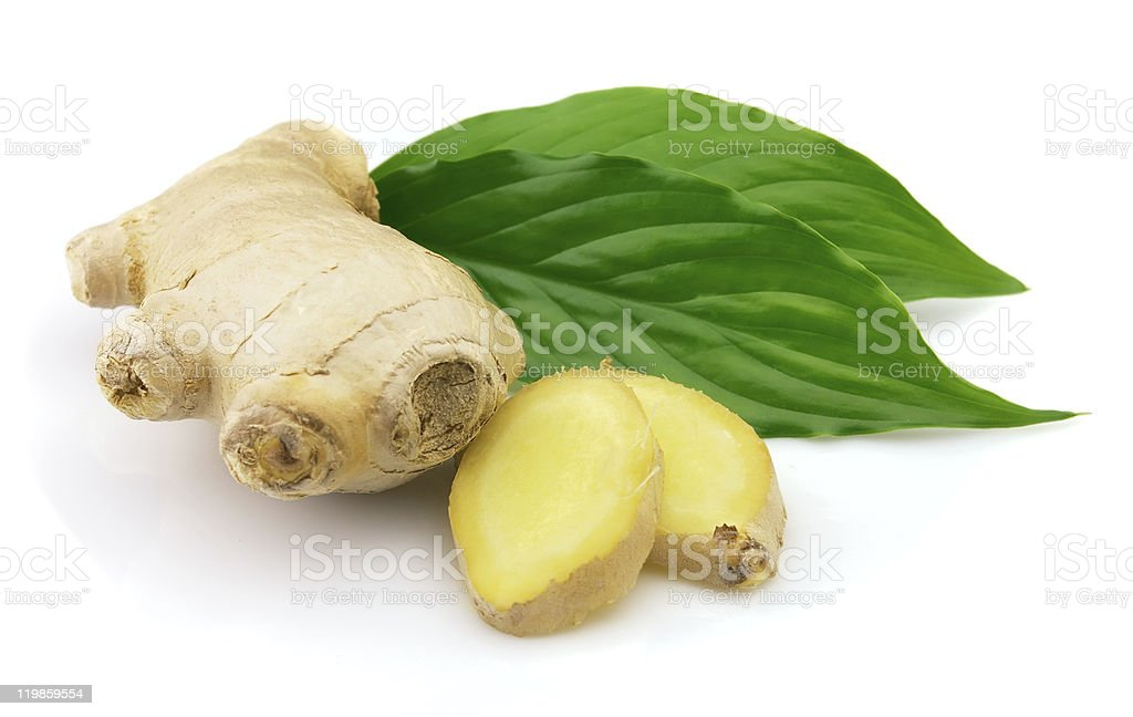 Fresh ginger with leaves stock photo