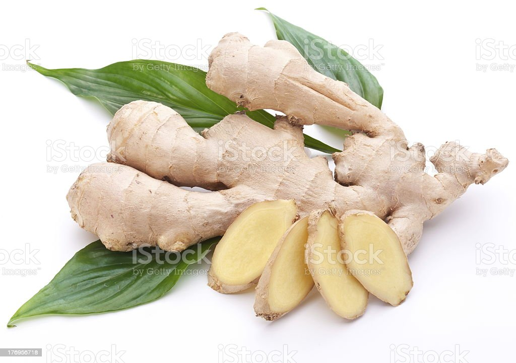 Fresh ginger with leaves. stock photo