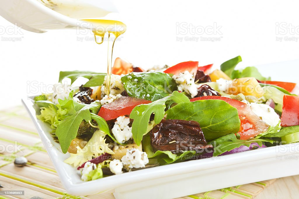 Fresh goat cheese salad. stock photo