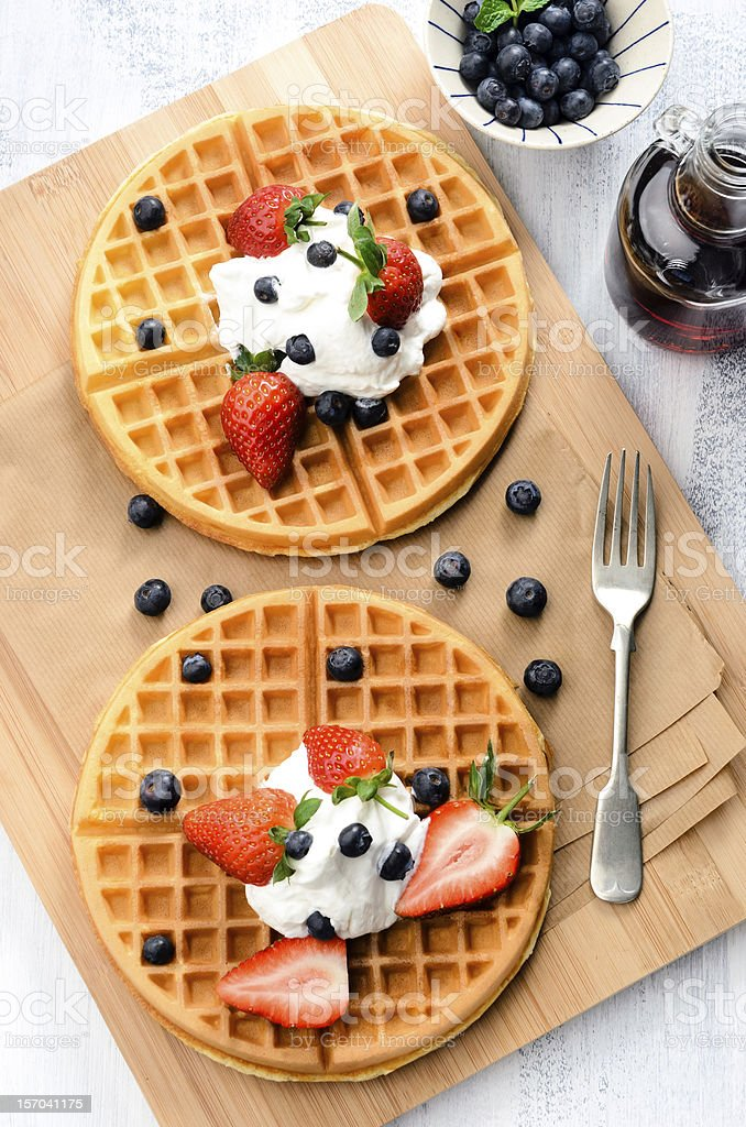 Fresh golden waffles stock photo