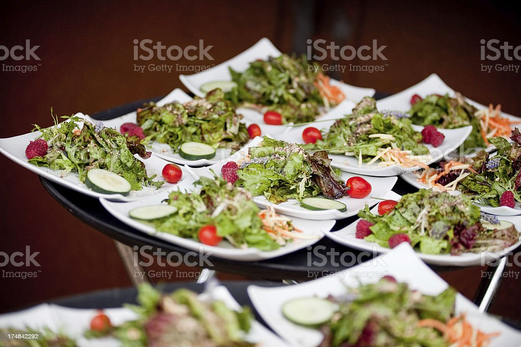 Fresh Gourmet Salad with Mixed Greens, Vegetables, Raspberries at Reception stock photo