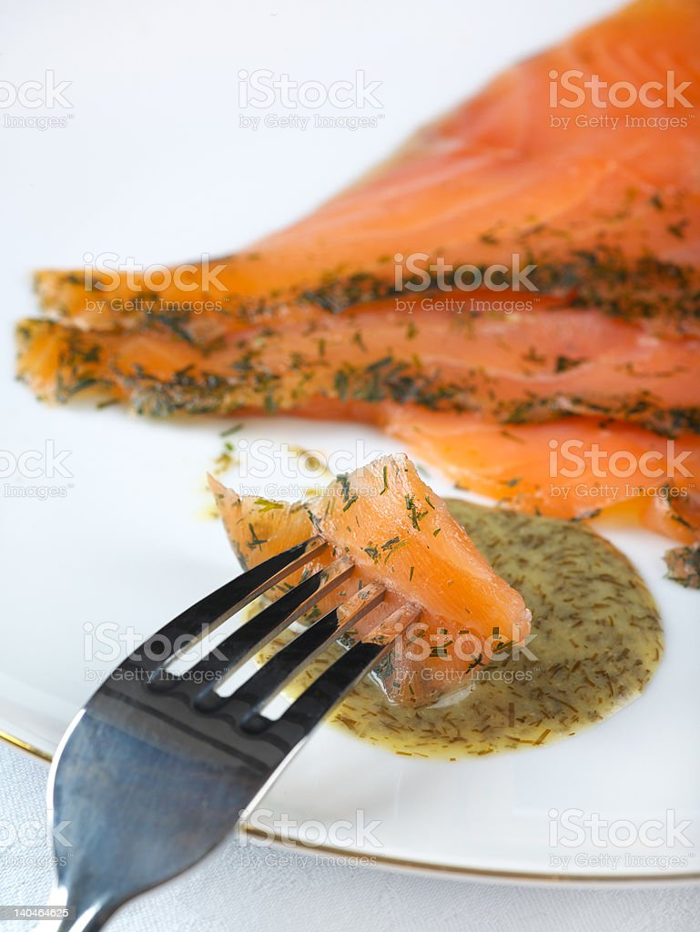 Fresh Gravadlax with Dill sauce royalty-free stock photo