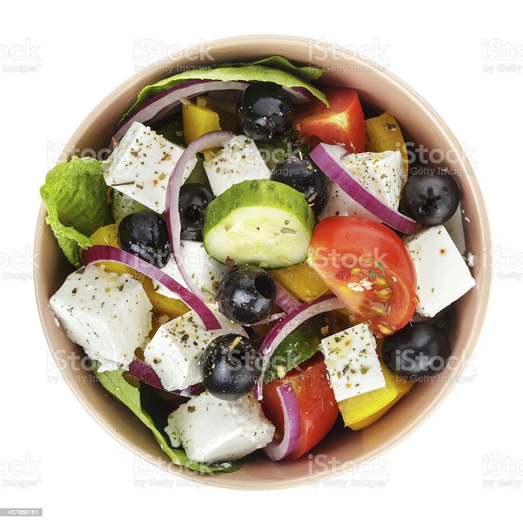 fresh greek salad in clay bowl royalty-free stock photo