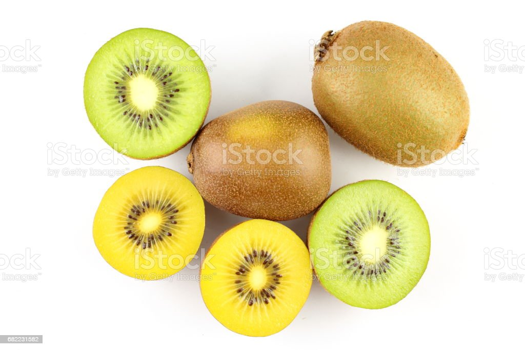 fresh green and yellow kiwi fruits stock photo