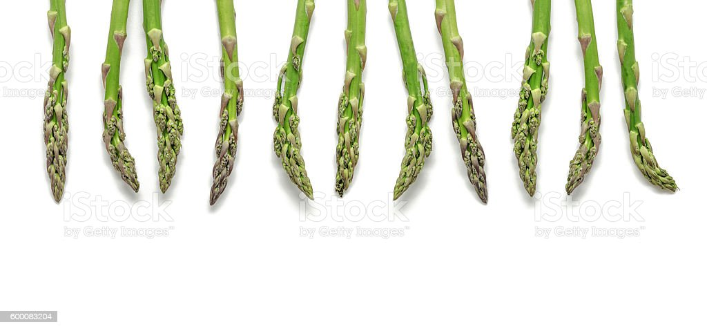 Fresh green asparagus in a row isolated on white background foto royalty-free