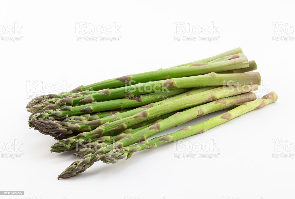 Fresh green asparagus spears on white background stock photo