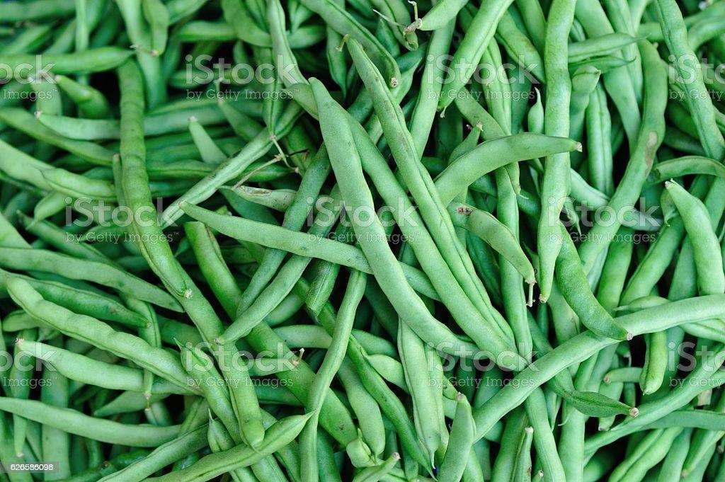 fresh green bean selling at market stock photo