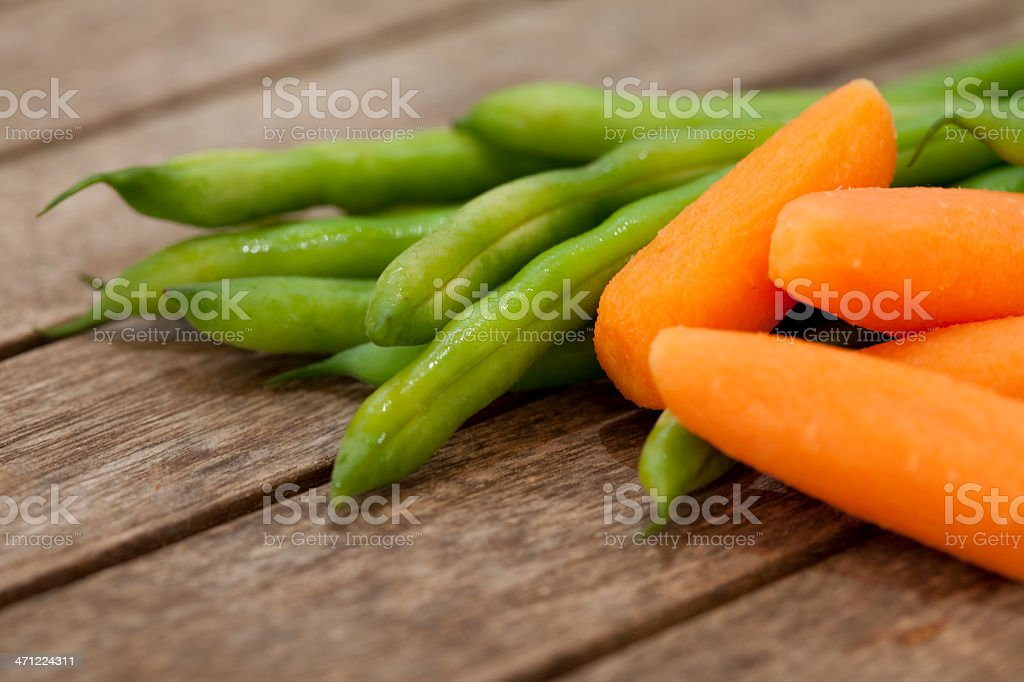 Fresh green beans and barrots royalty-free stock photo