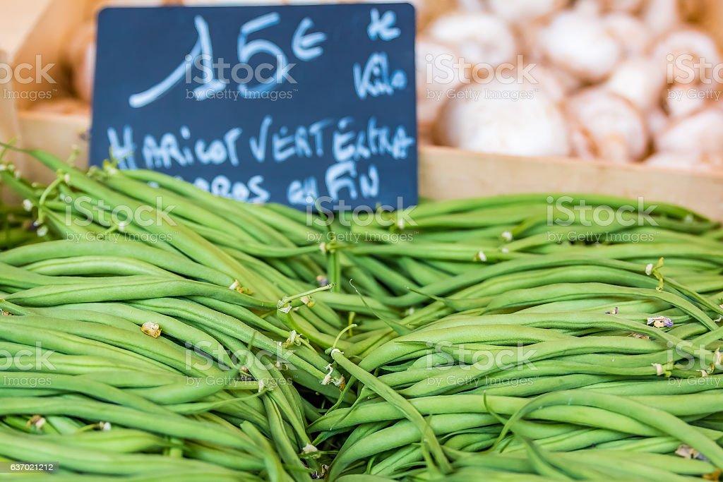 Fresh Green Beans at local farmers market stock photo