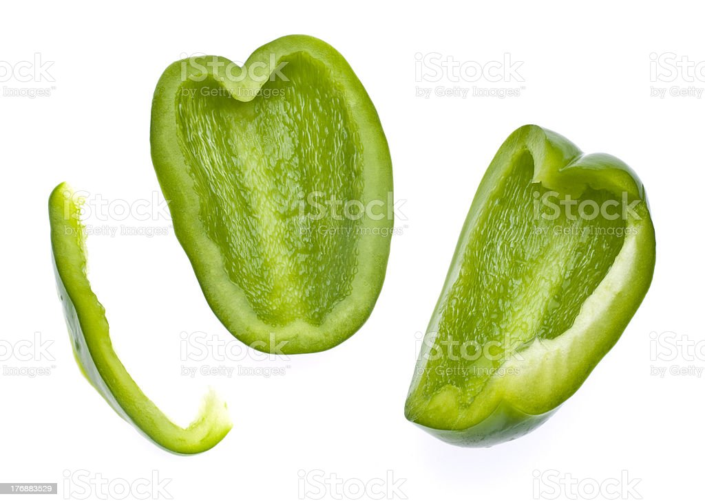 Fresh Green Bell Pepper Slices stock photo