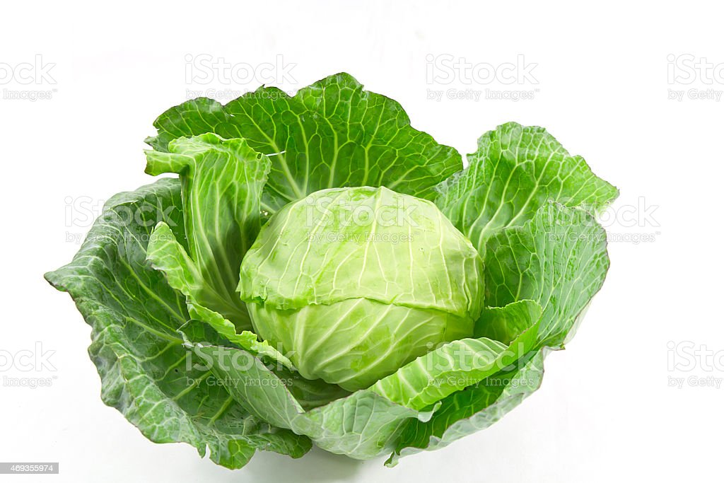 Fresh green cabbage over white background stock photo