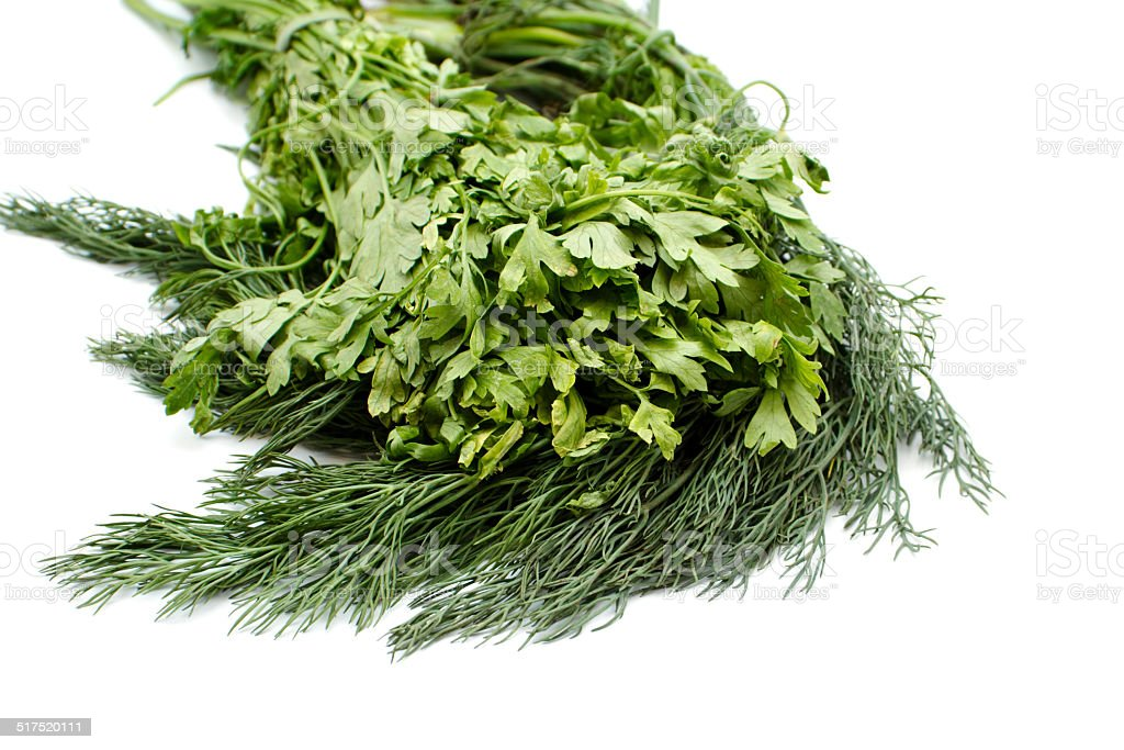 Fresh Green Dill and Parsley stock photo