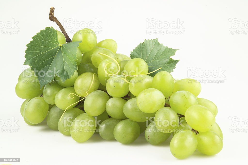 Fresh green grapes with leaves. Isolated on white stock photo