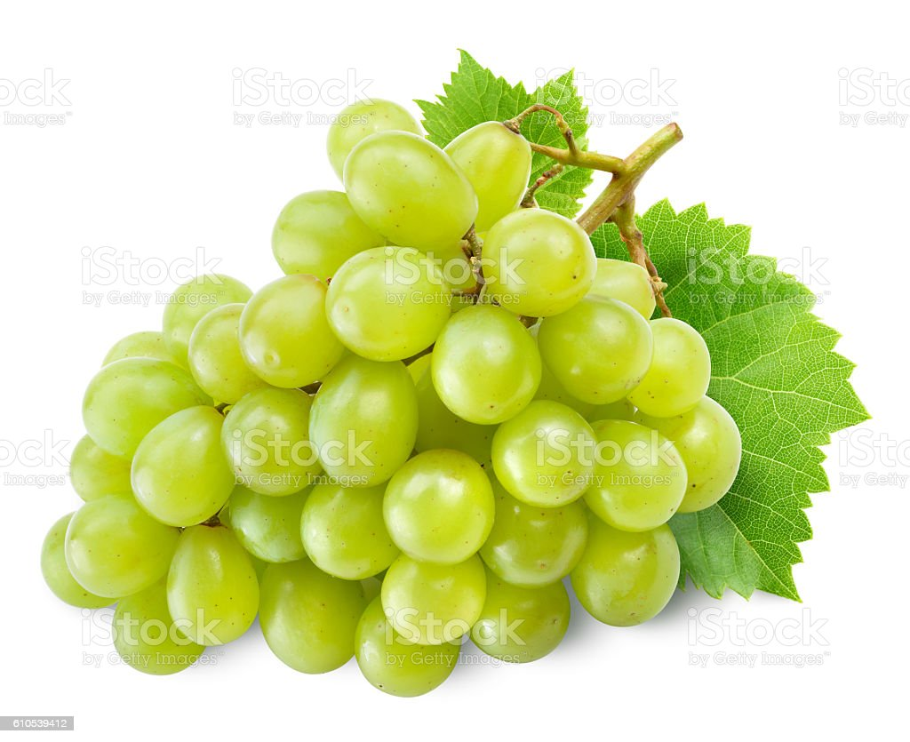 Fresh green grapes with leaves. Isolated on white. stock photo