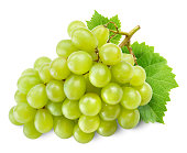 Fresh green grapes with leaves. Isolated on white.