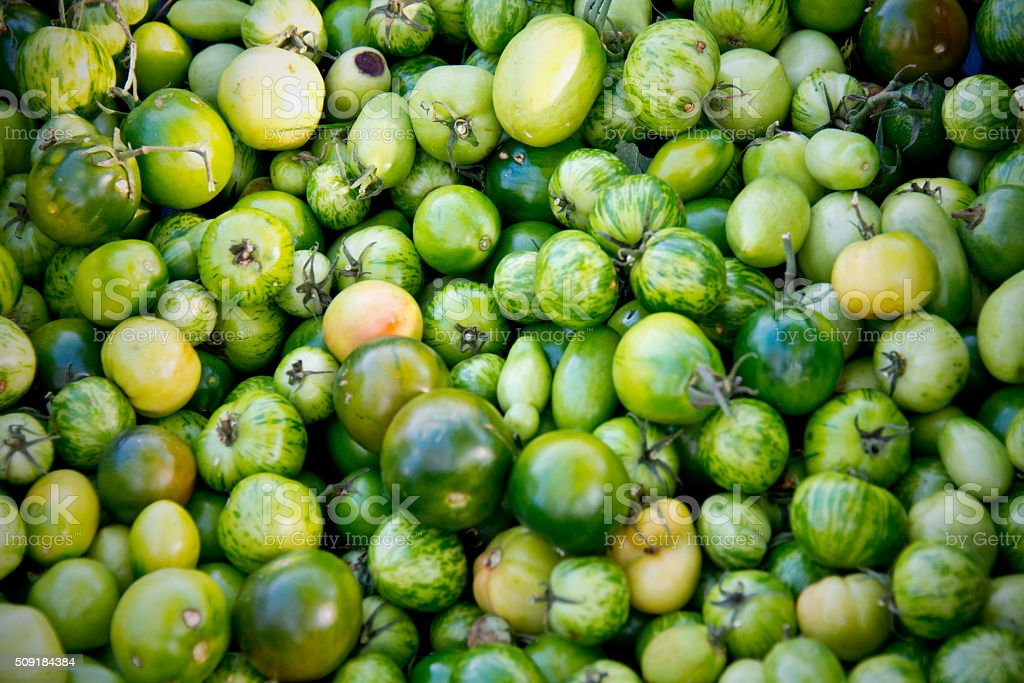 Fresh Green Heirloom Tomatoes in Market Crate, Green Zebra Variety stock photo