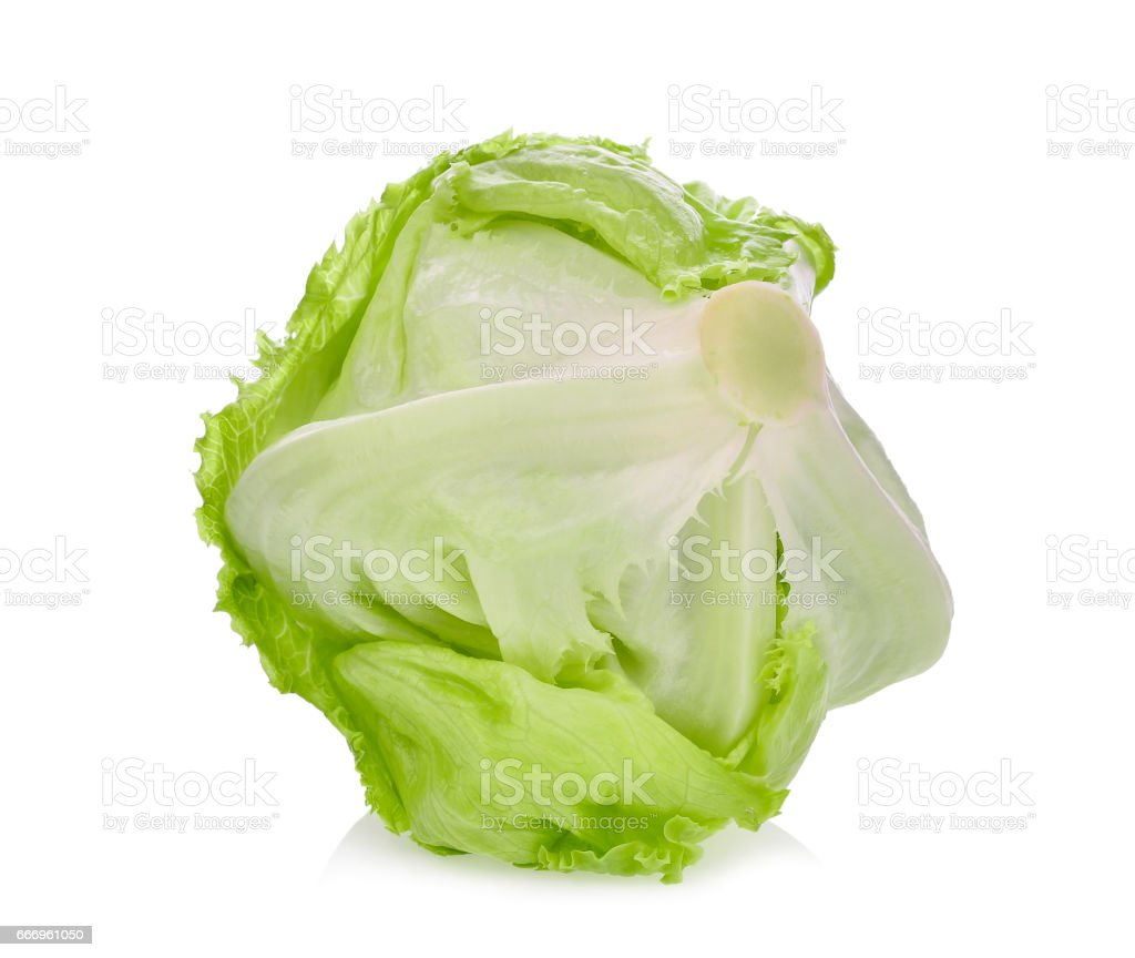 fresh green Iceberg lettuce isolated on white background stock photo