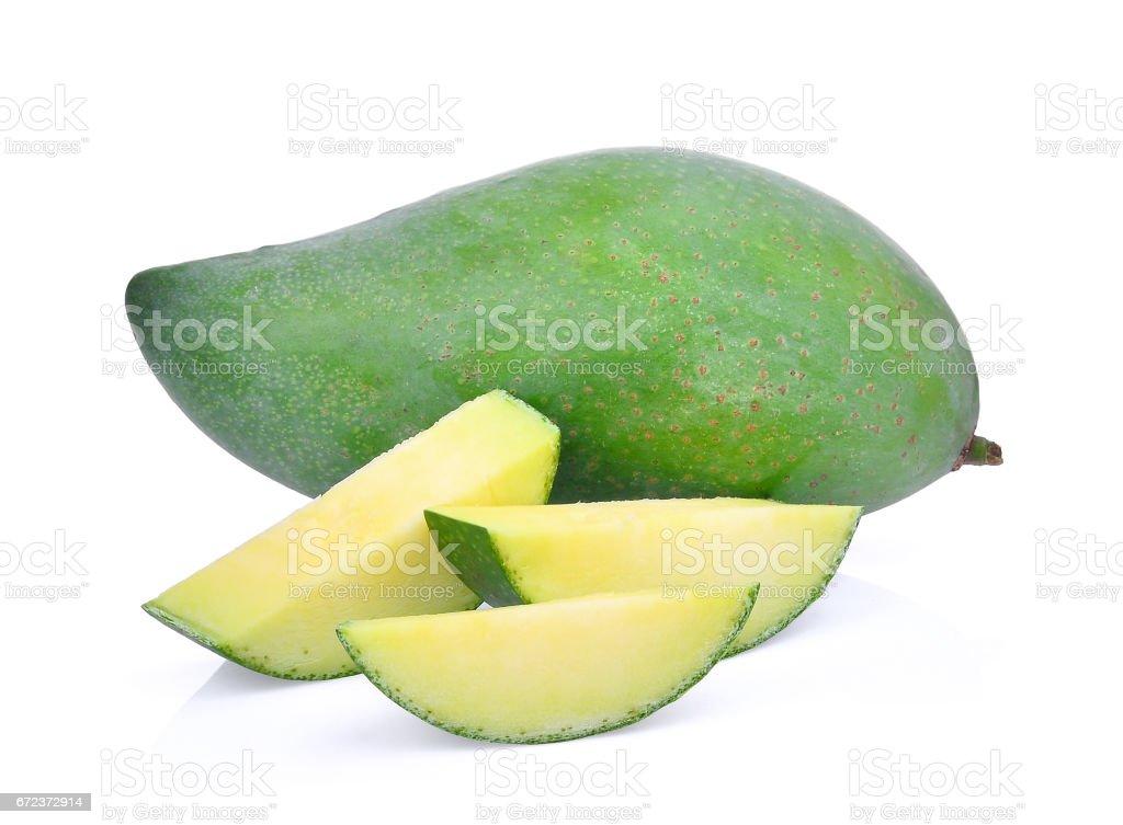 fresh green mango isolated on white background stock photo