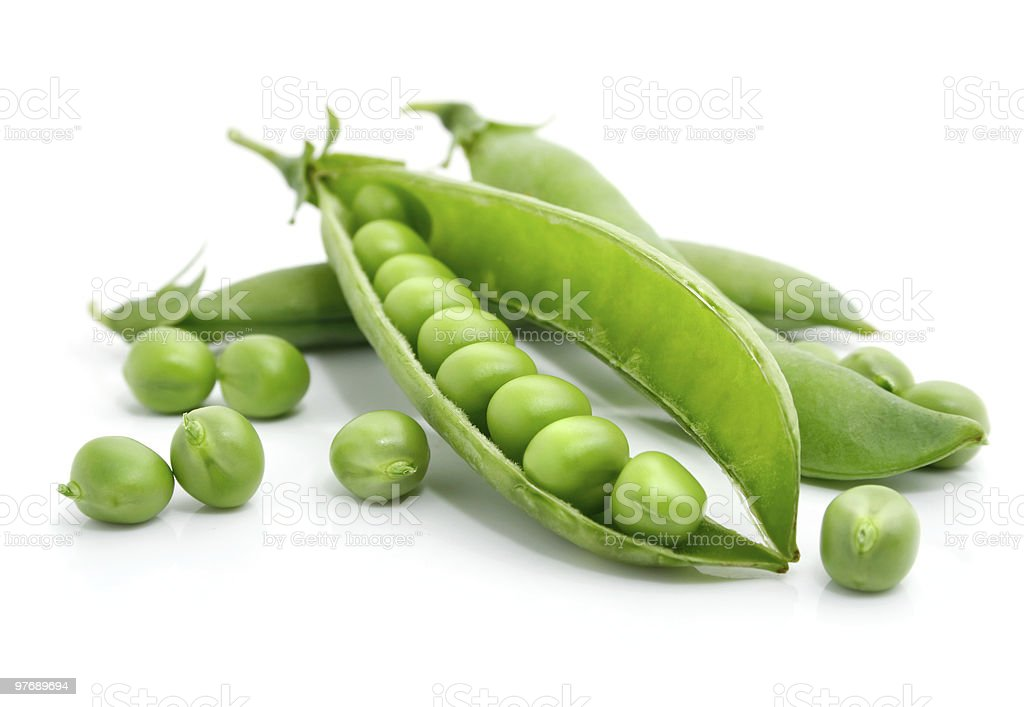 fresh green pea in the pod isolated stock photo