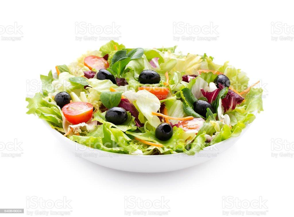 Fresh green salad on white background stock photo
