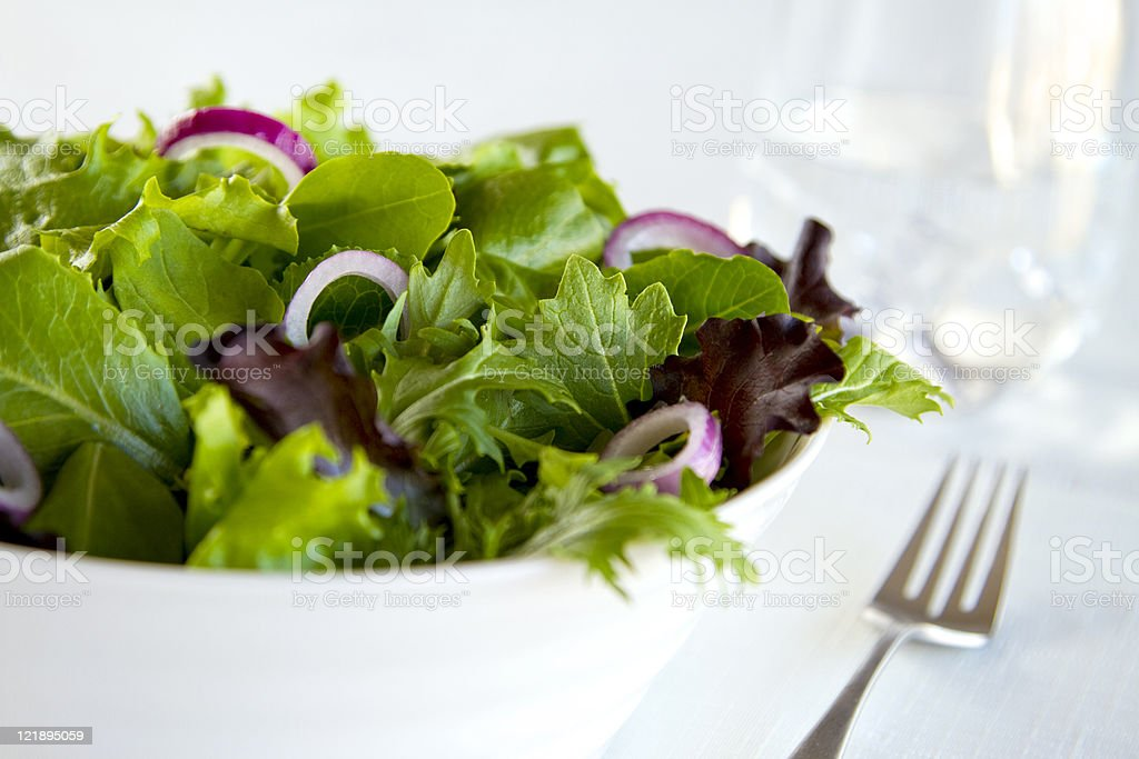 Fresh Green Salad with Onions stock photo