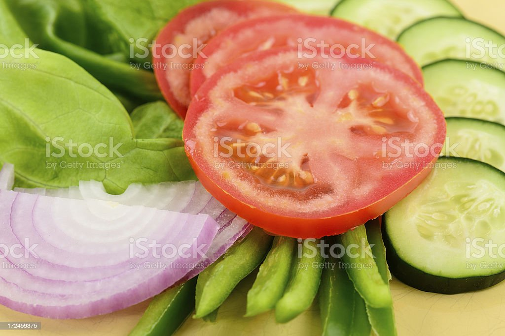 Fresh Green Sald with Vegetables royalty-free stock photo