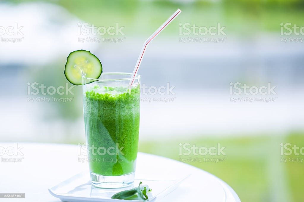 Fresh green smoothie stock photo