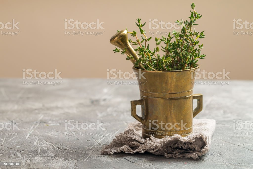 Fresh green thyme in old metal mortar stock photo
