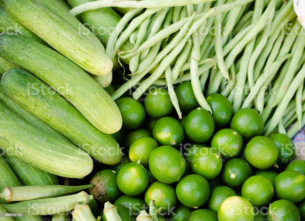 Fresh green vegetables on asian market stock photo