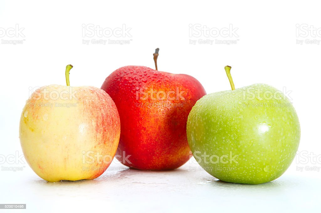 Fresh Green, Yellow and Red Apples Isolated on White Background stock photo