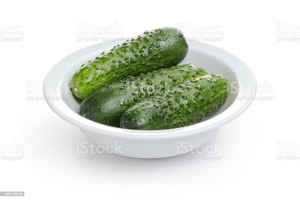 fresh greenhouse cucumbers in bowl royalty-free stock photo