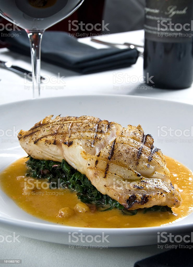 Fresh grilled grouper royalty-free stock photo