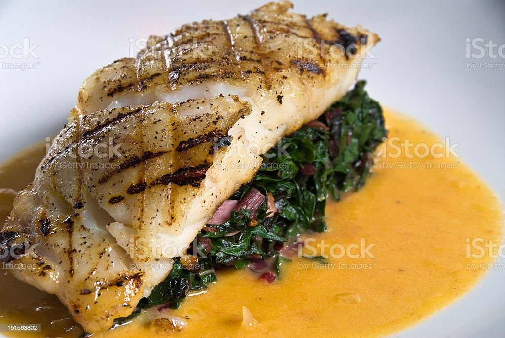 Fresh grilled grouper stock photo